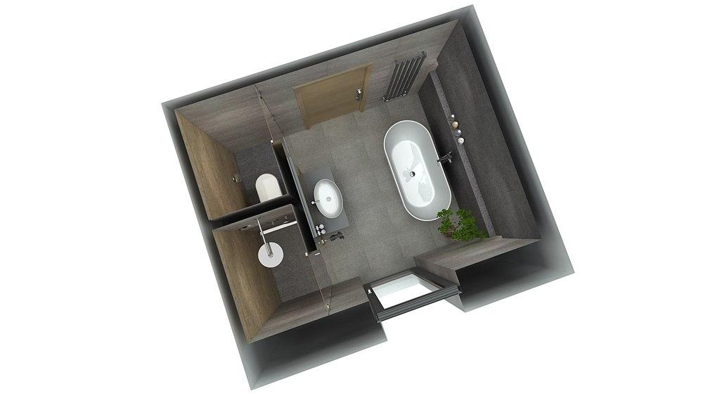 Návrh koupelny s chytře vyřešeným uspořádáním 7
