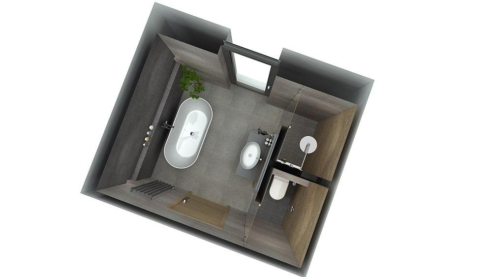 Návrh koupelny s chytře vyřešeným uspořádáním 6