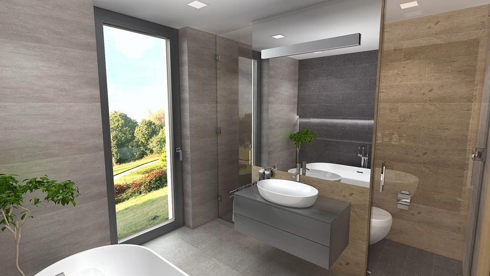 Návrh koupelny s chytře vyřešeným uspořádáním 0