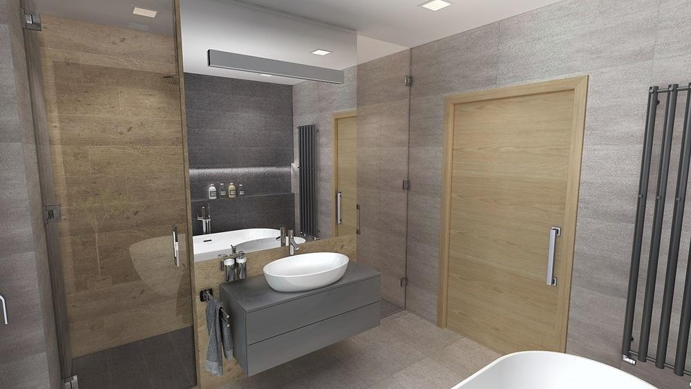 Návrh koupelny s chytře vyřešeným uspořádáním 2
