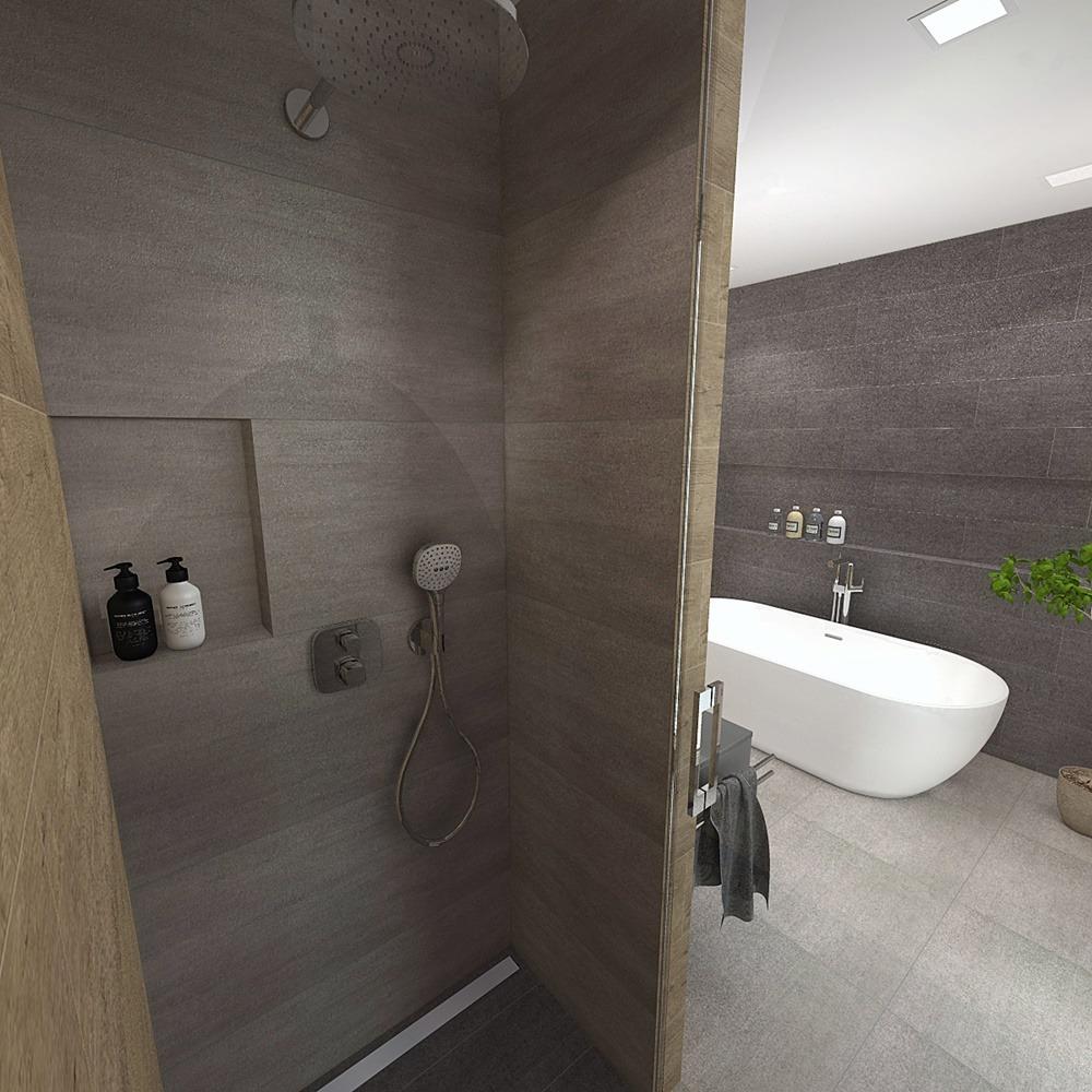 Návrh koupelny s chytře vyřešeným uspořádáním 4