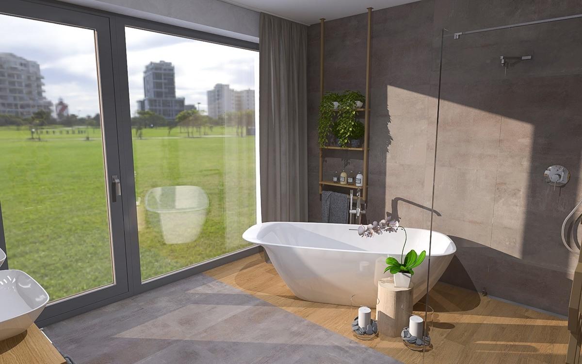 Návrh koupelny s vanou a sprchovým koutem 0