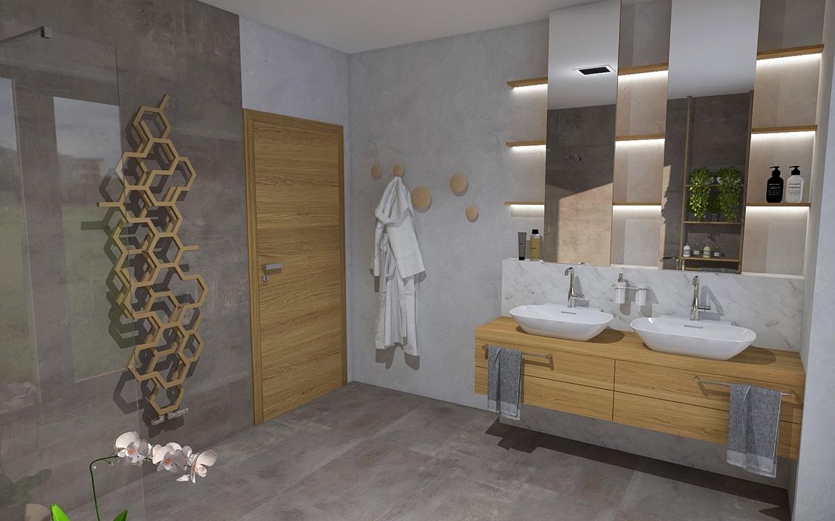 Návrh koupelny s vanou a sprchovým koutem 2