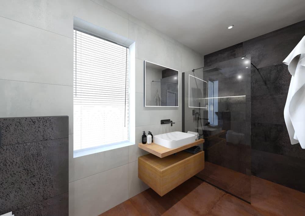 Návrh malé úzké koupelny 1
