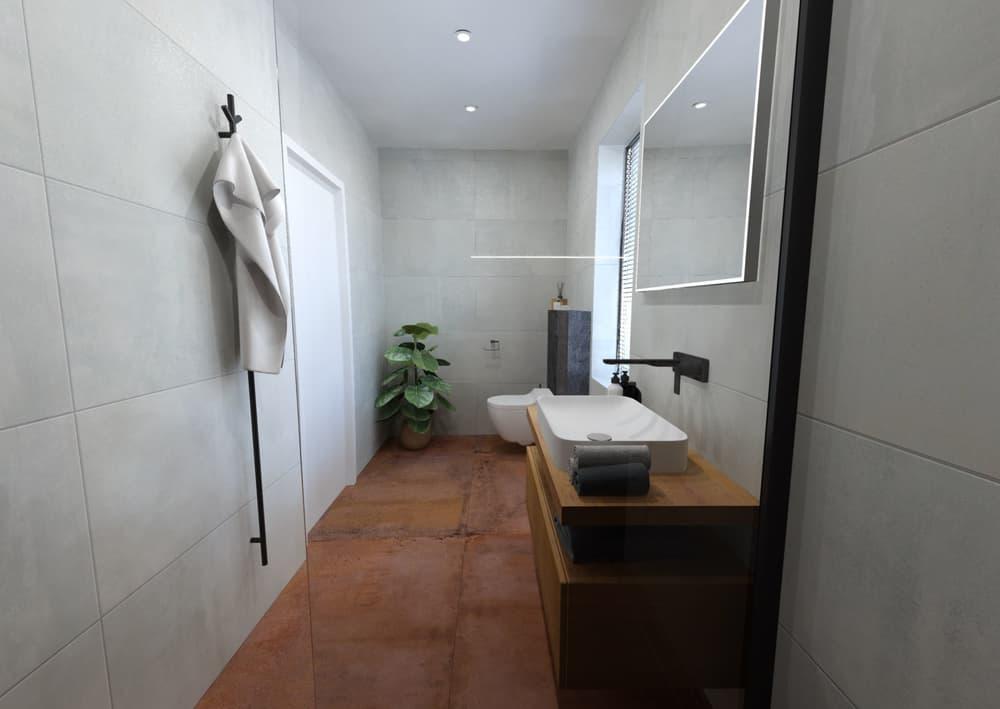 Návrh malé úzké koupelny 4
