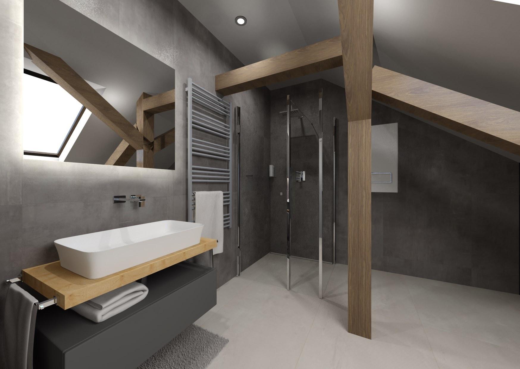 Návrh šedé koupelny se dřevem 0