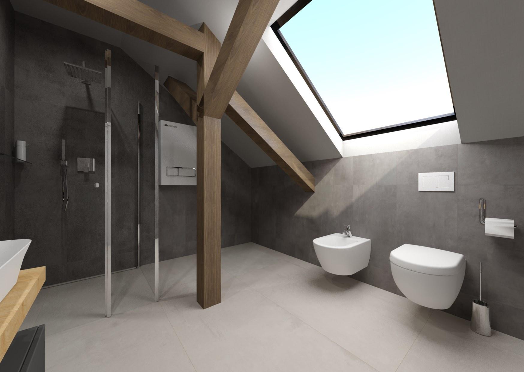 Návrh šedé koupelny se dřevem 1
