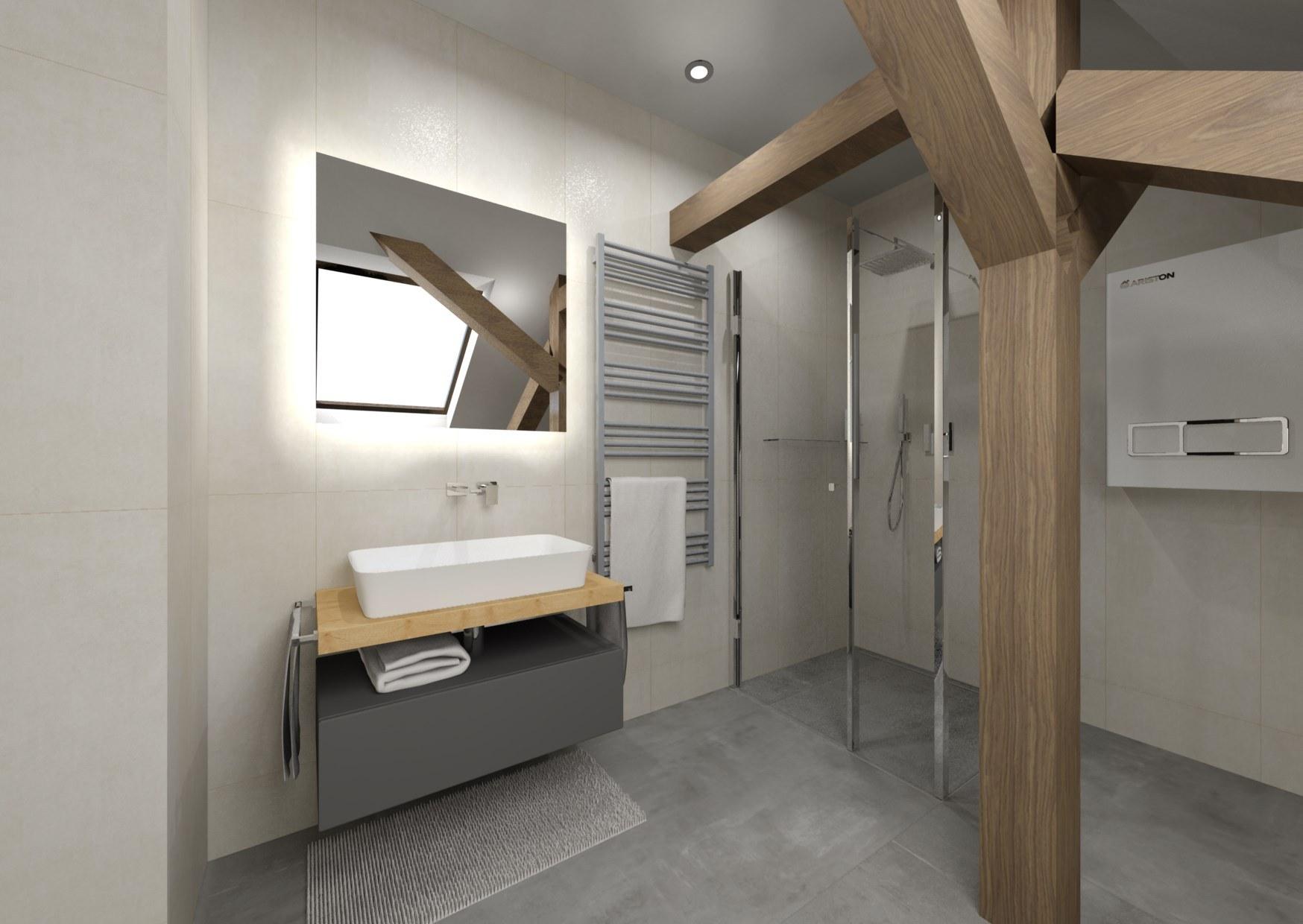 Návrh šedé koupelny se dřevem 2