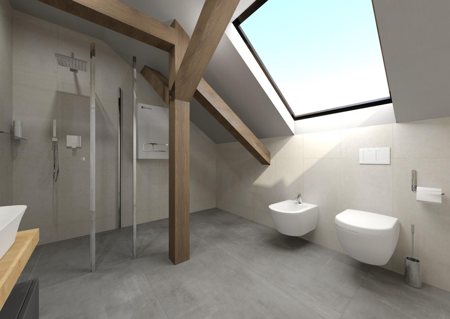 Návrh šedé koupelny se dřevem 3