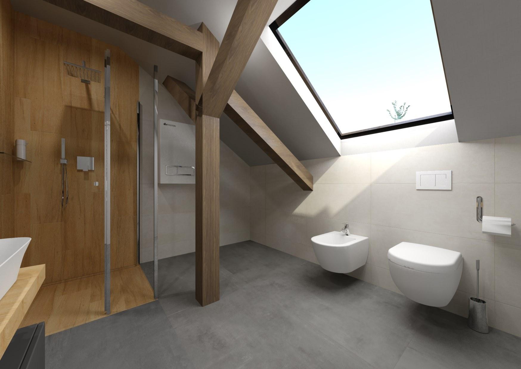 Návrh šedé koupelny se dřevem 4
