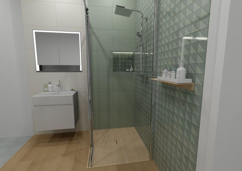 Návrh koupelny s dřevěným dekorem 14