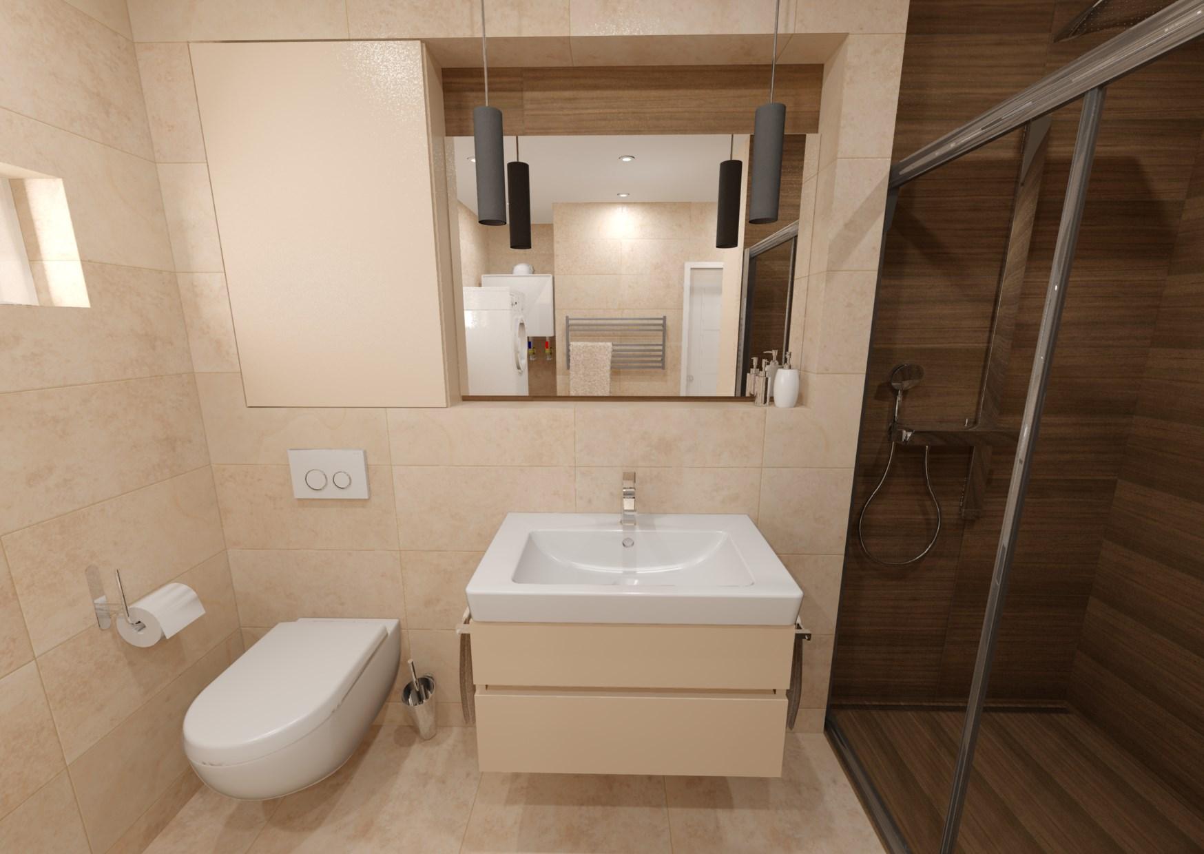 Návrh koupelny s dřevěným dekorem 1
