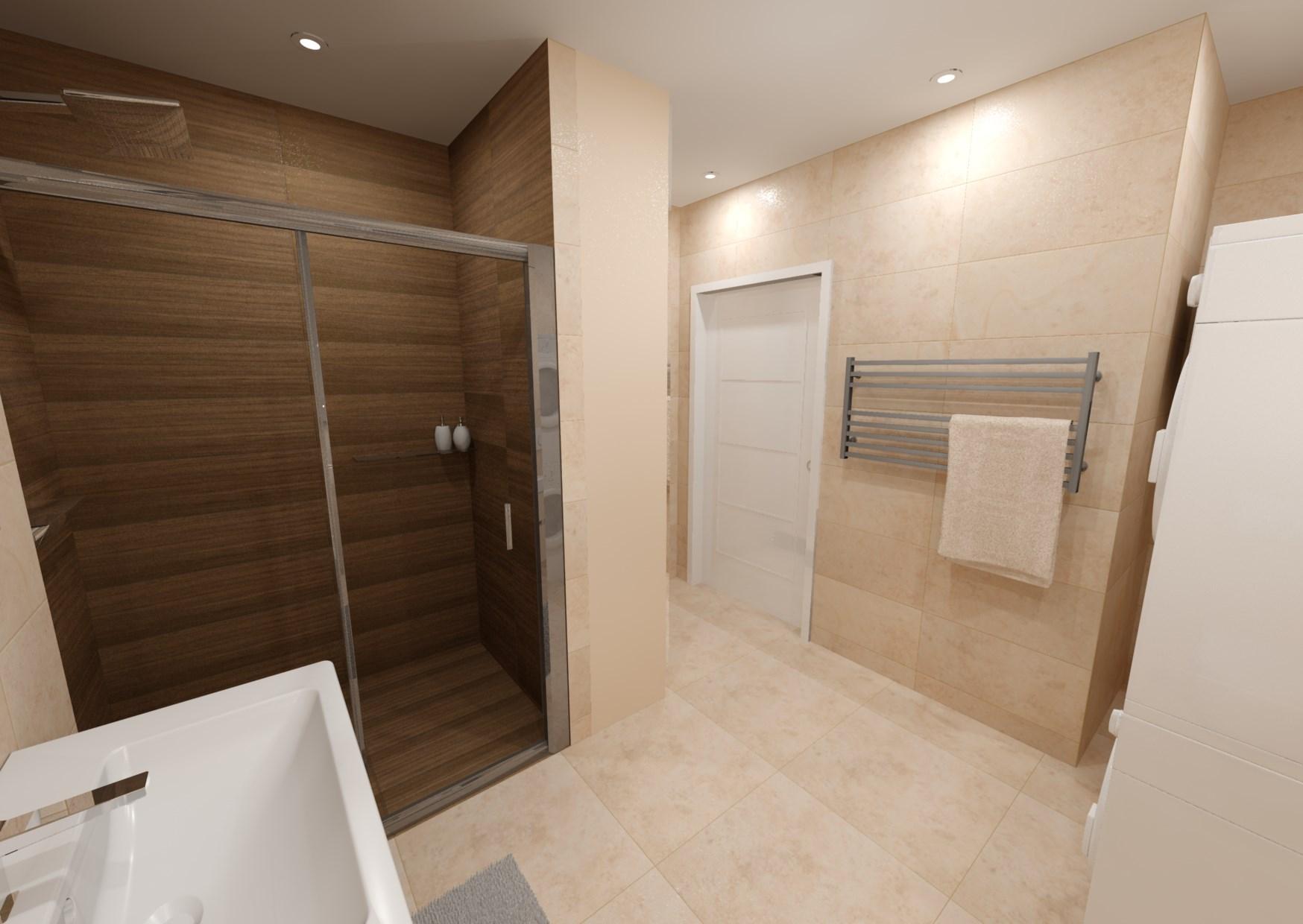 Návrh koupelny s dřevěným dekorem 3
