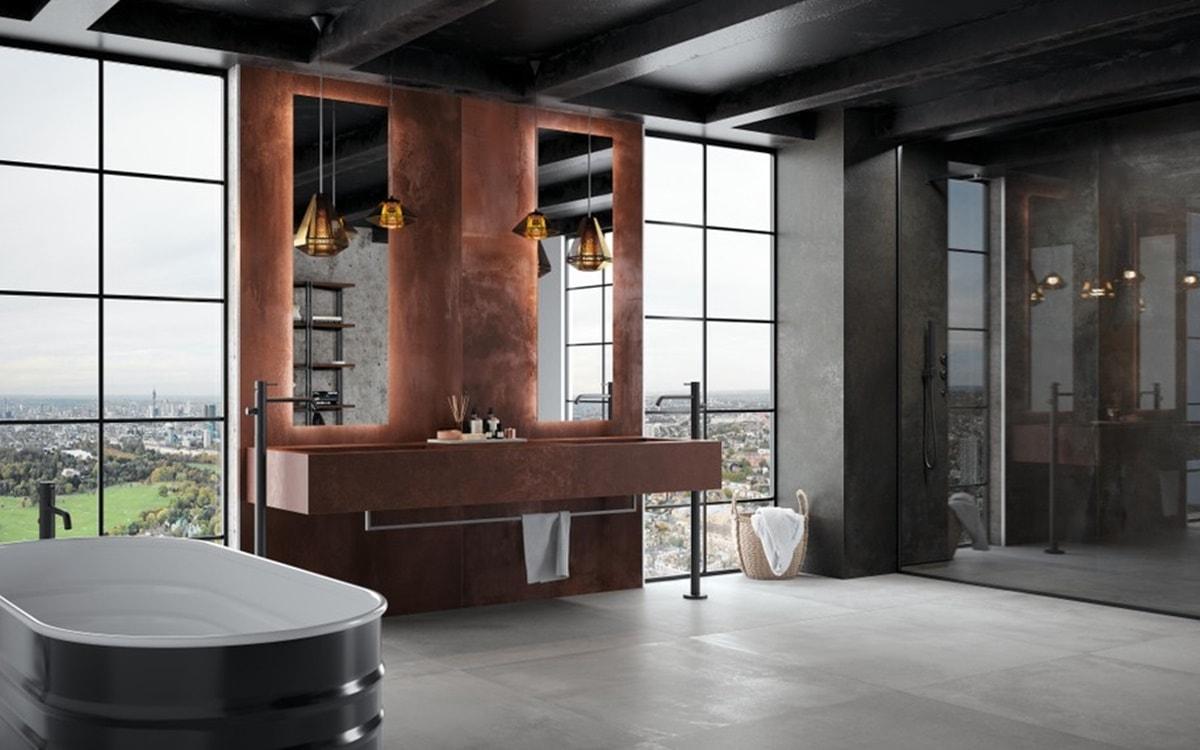 Obklady v metalické barvě v koupelně 7