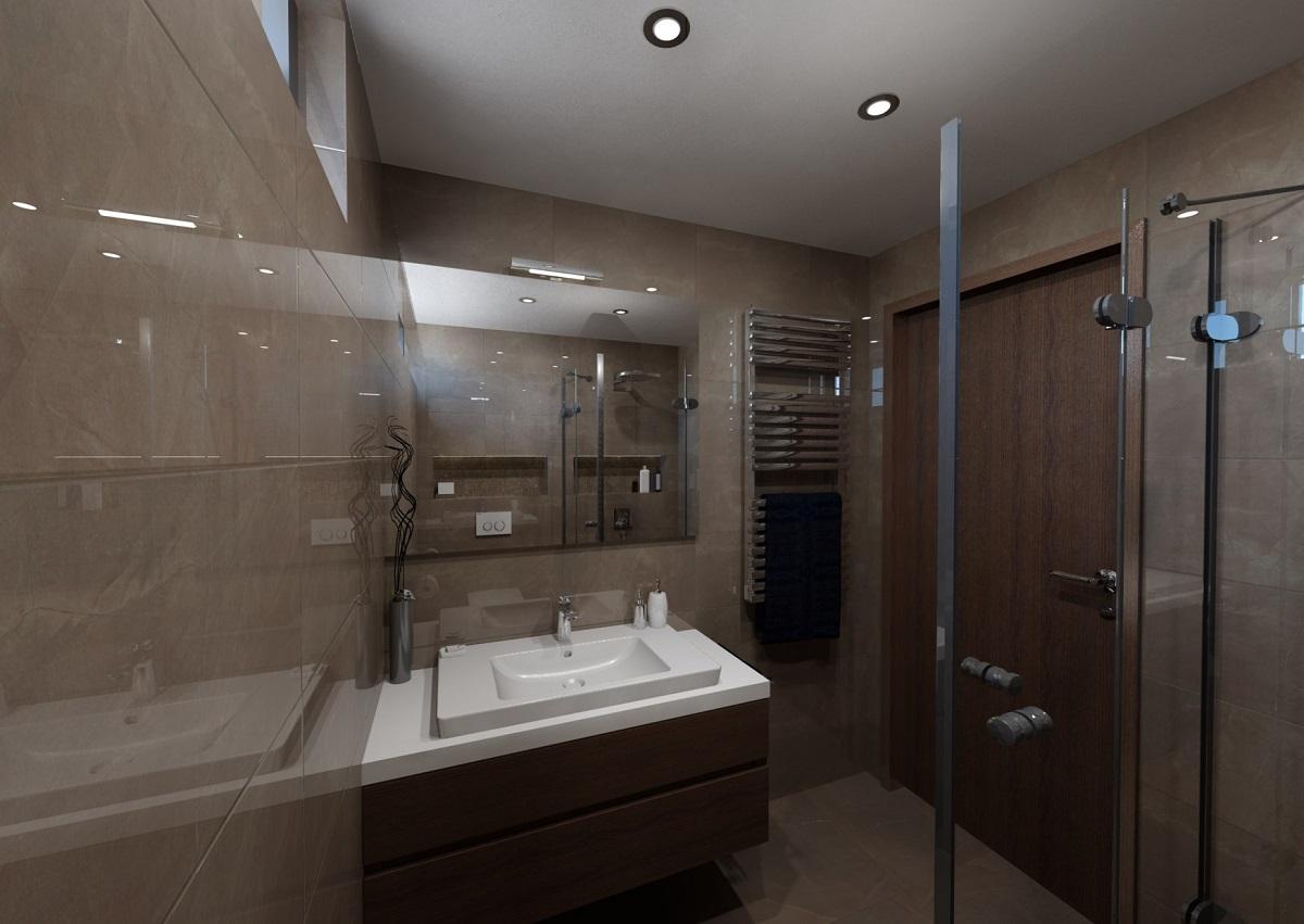 Vizualizace malé koupelny - řešení
