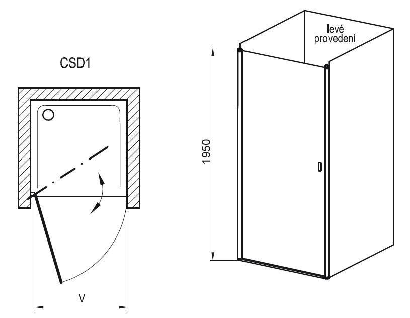 Sprchové dveře jednodílné CSD1-90 Transparent Ravak CHROME, bílá 1