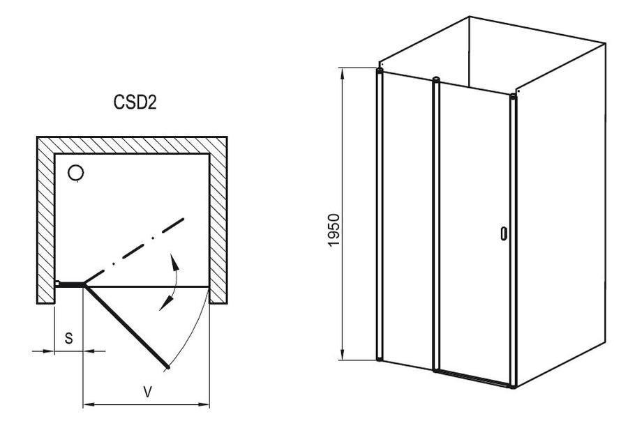 Sprchové dveře dvoudílné CSD2-100 s pevnou stěnou Transparent Ravak CHROME, lesk