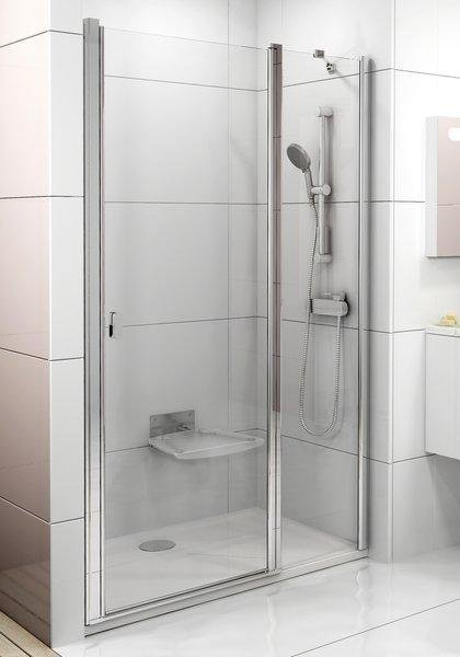 Sprchové dveře dvoudílné CSD2-100 s pevnou stěnou Transparent Ravak CHROME, satin 1