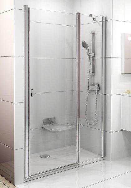 Sprchové dveře dvoudílné CSD2-120 s pevnou stěnou Transparent Ravak CHROME, bílá 1