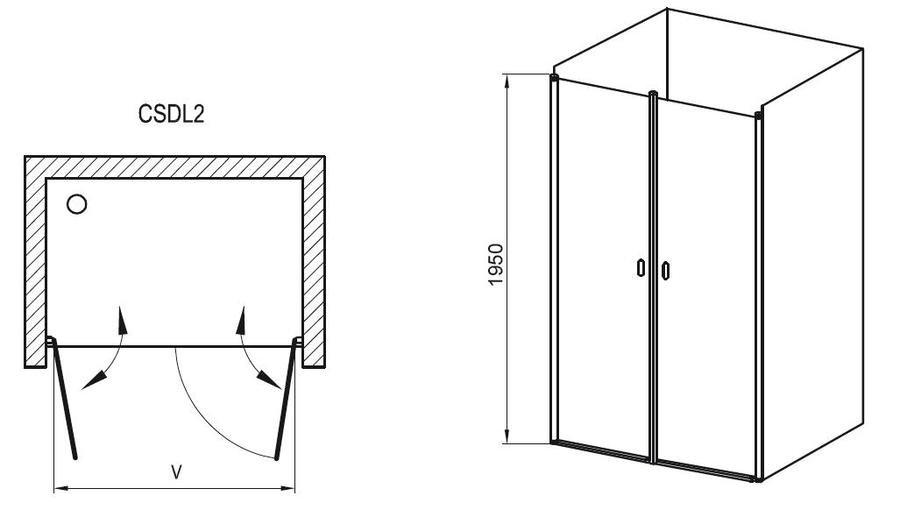 Sprchové dveře dvoudílné CSDL2-120 Transparent Ravak CHROME, bílá 2