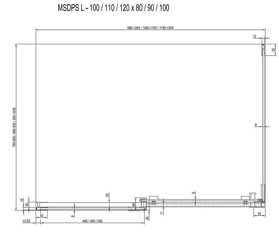 Sprchový kout MSDPS-120/90 L Transparent Ravak MATRIX, levý, chrom