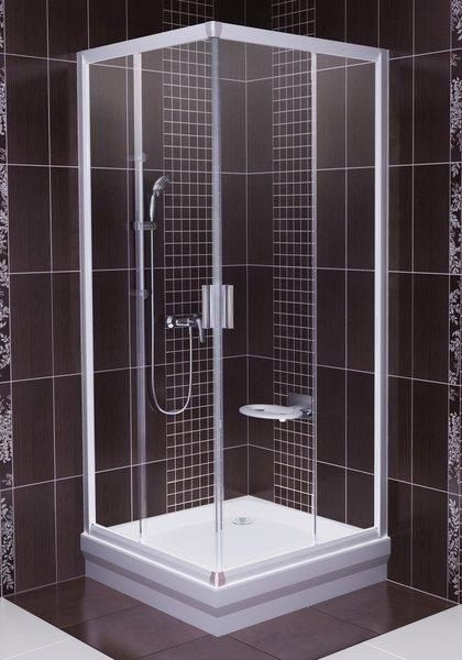 Sprchový kout rohový BLRV2-80 Transparent Ravak BLIX, satin