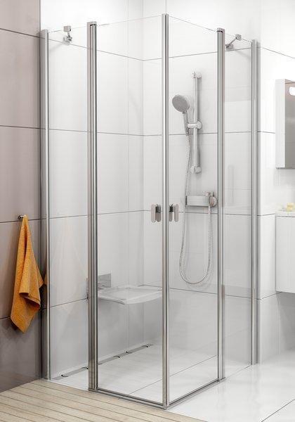 Sprchové dveře dvoudílné CRV2-90 se vstupem z rohu Transparent Ravak CHROME, bílá 1