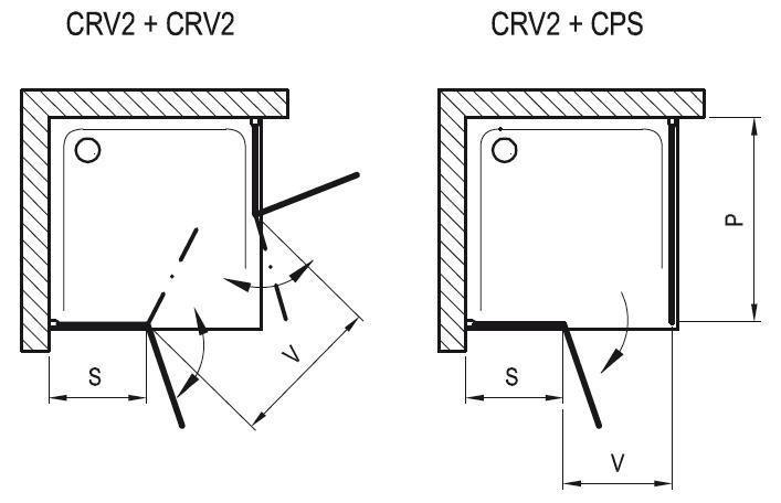 Sprchové dveře dvoudílné CRV2-120 se vstupem z rohu Transparent Ravak CHROME, bílá 2