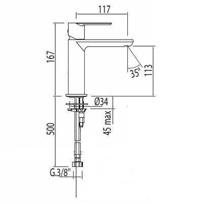 Umyvadlová baterie stojánková TRES LOFT s automatickým odtokem, páka, perlátor, chrom