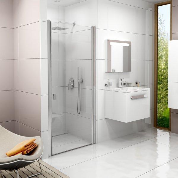 Sprchové dveře jednodílné CSD1-80 Transparent Ravak CHROME, bílá