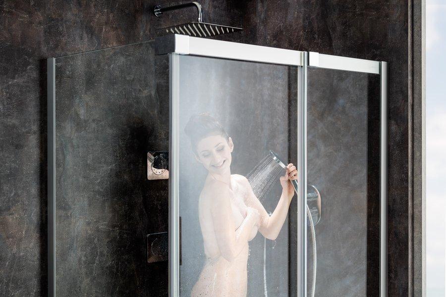 Sprchový kout MSDPS-120/90 R Transparent Ravak MATRIX, pravý, bílá