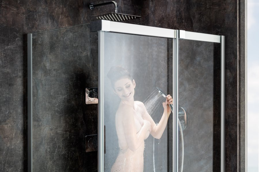 Sprchový kout MSDPS-120/90 R Transparent Ravak MATRIX, pravý, satin
