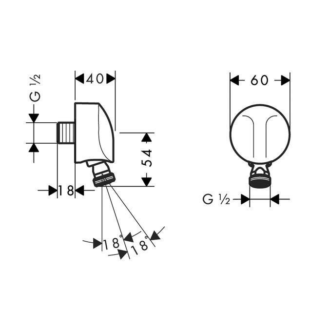Hansgrohe FIXFIT E Vývod na stěnu se zpětným ventilem a kulovým kloubem DN 15, chrom 1