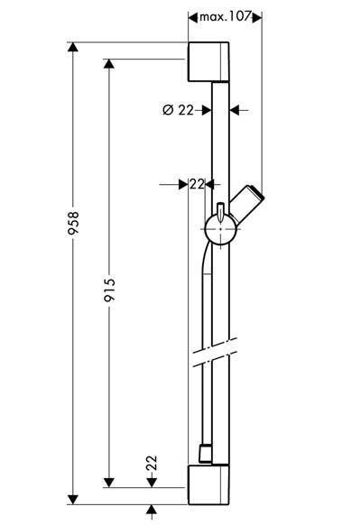 Hansgrohe Unica'C Sprchová tyč 0,90 m, chrom 1