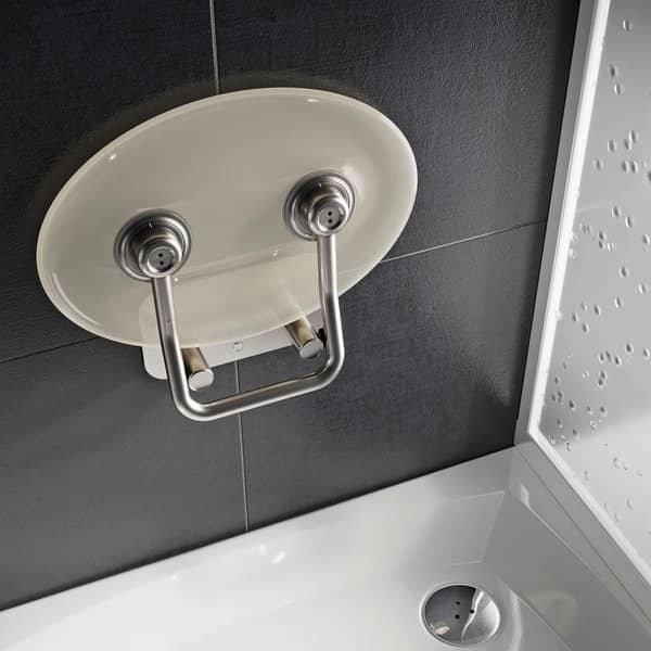 Sprchové sedátko Ravak OVO P II Clear, nerez/čiré