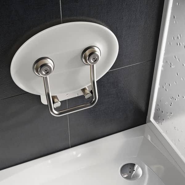 Sprchové sedátko Ravak OVO P II Opal, nerez/průsvitně bílá