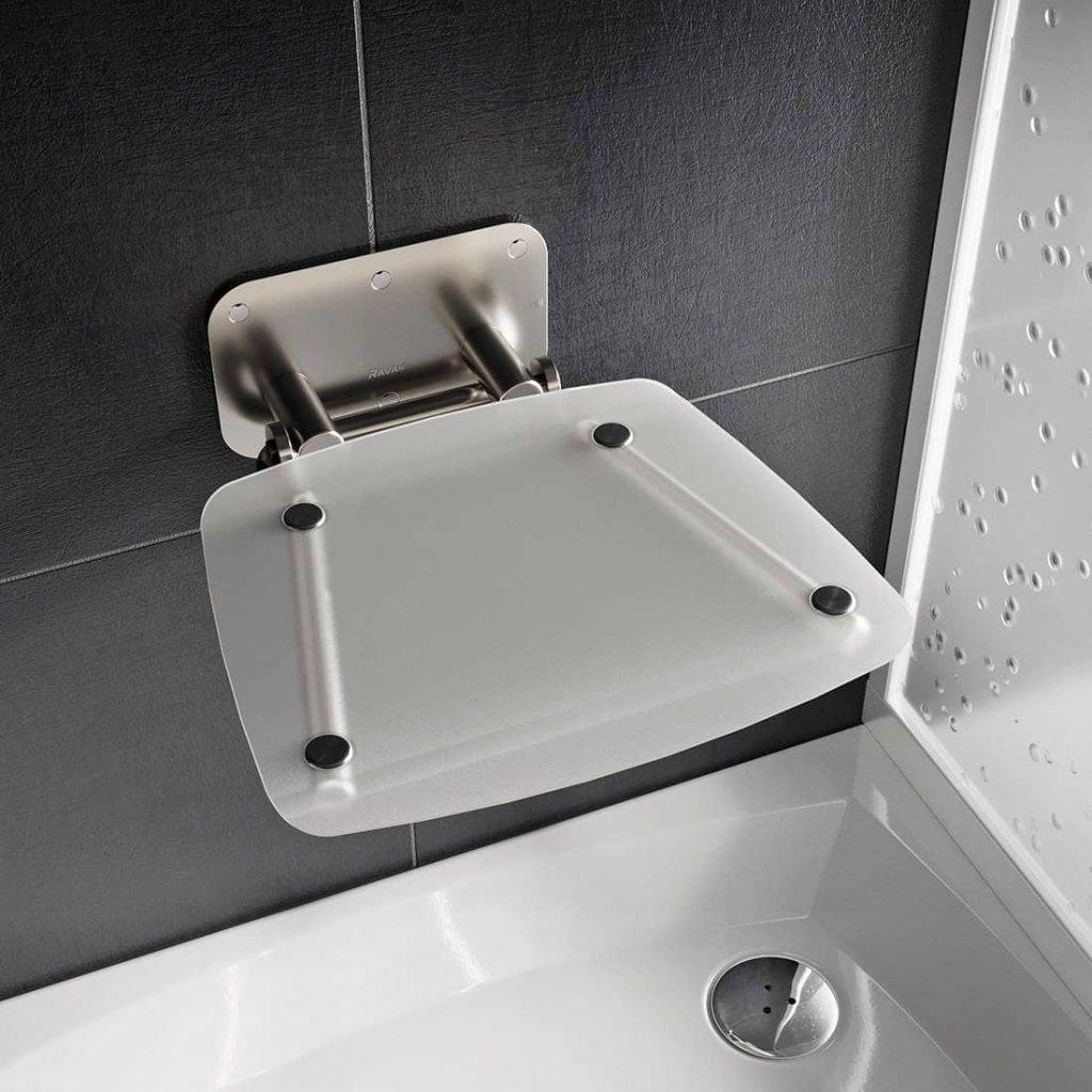 Sprchové sedátko Ravak OVO B II Clear, nerez/čiré