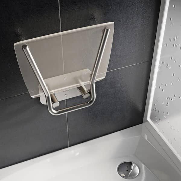 Sprchové sedátko Ravak OVO B II Opal, nerez/průsvitně bílá