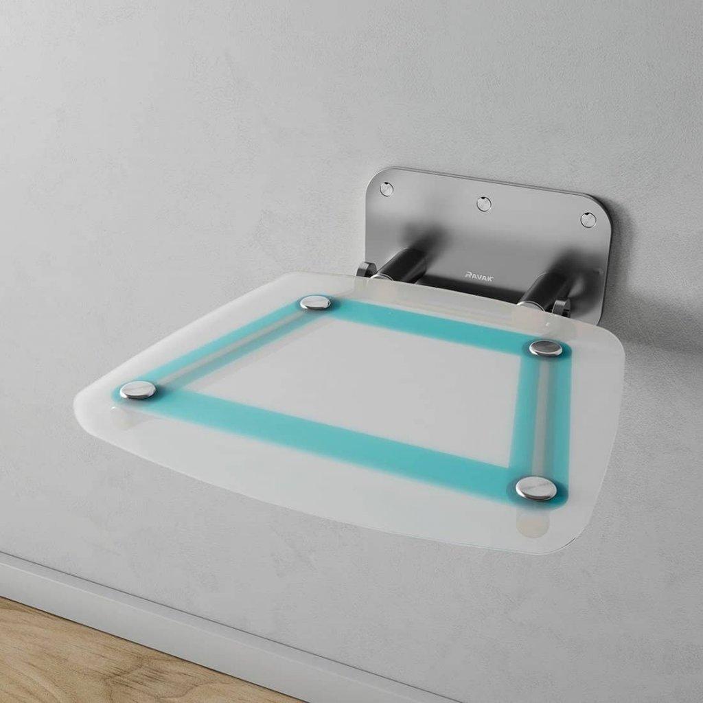 Sprchové sedátko Ravak OVO B Decor II Blueline, nerez/průsvitně bílá