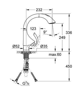 Dřezová páková baterie Grohe K4 rozpětí 232mm, chrom 1