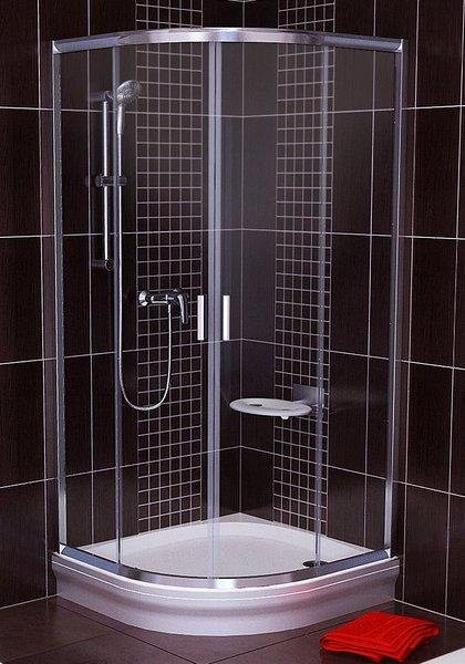 Sprchový kout čtvrtkruhový BLCP4-90 Transparent Ravak BLIX, satin 2