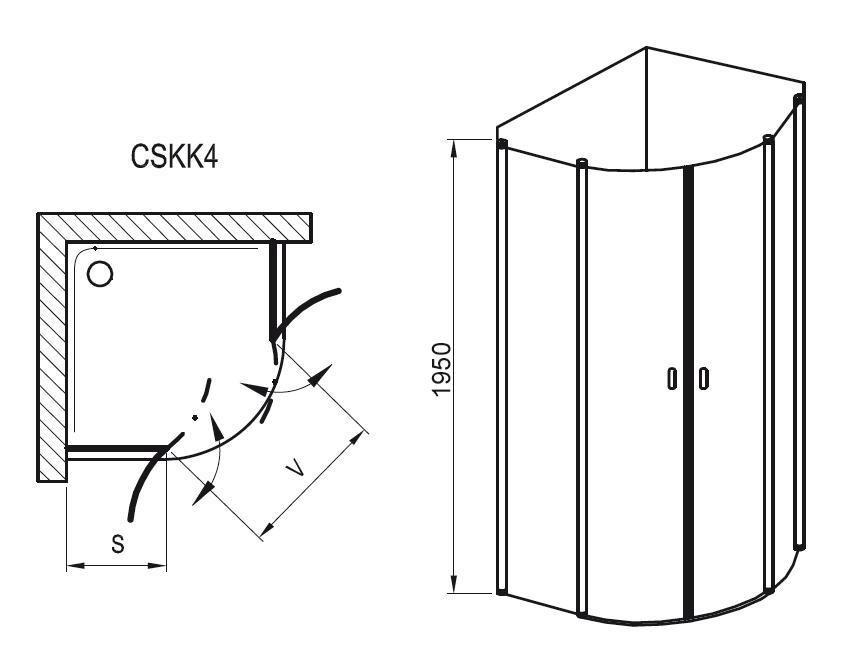 Sprchový kout čtvrtkruhový čtyřdílný CSKK4-80 Transparent Ravak CHROME, lesk