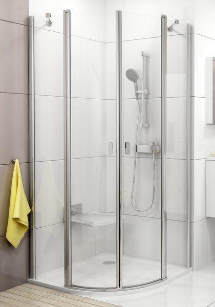 Sprchový kout čtvrtkruhový čtyřdílný CSKK4-80 Transparent Ravak CHROME, satin 1