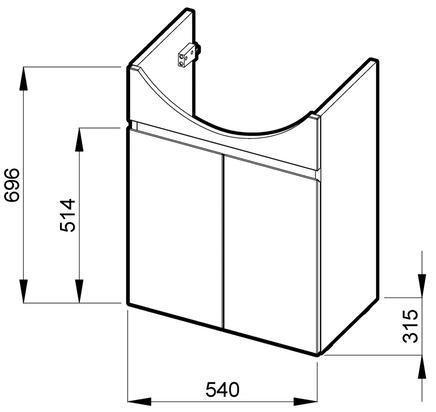 Skříňka pod umyvadlo 60 cm Jika LYRA s 2 dveřmi, třešeň/bílý lak 1