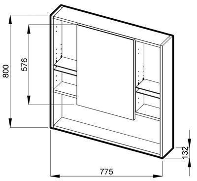 Zrcadlová skříňka 80 x 77,5 cm Jika LYRA, bílá 1