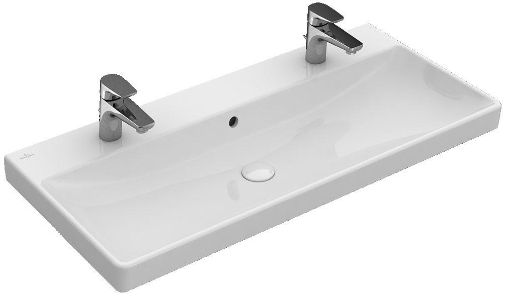 V&B Avento umyvadlo s dvěma otvory a přepadem 1000x470 mm, Bílá Alpin CeramicPlus 0