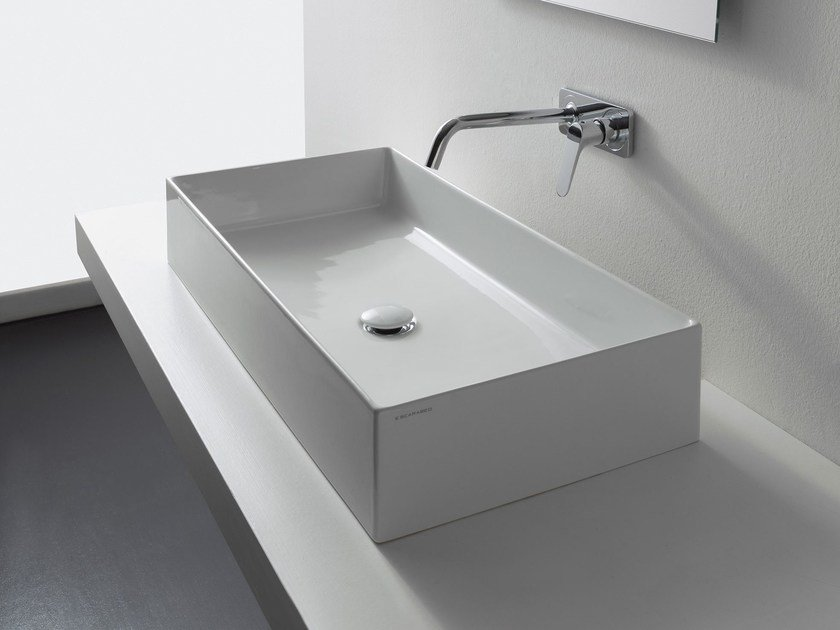 Umyvadlo na desku/stěnu, 60x46cm, Scarabeo TEOREMA 2.0 60R, bílé 1