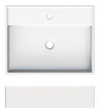 Umyvadlo na desku/stěnu, 60x46cm, Scarabeo TEOREMA 2.0 60R, bílé 0