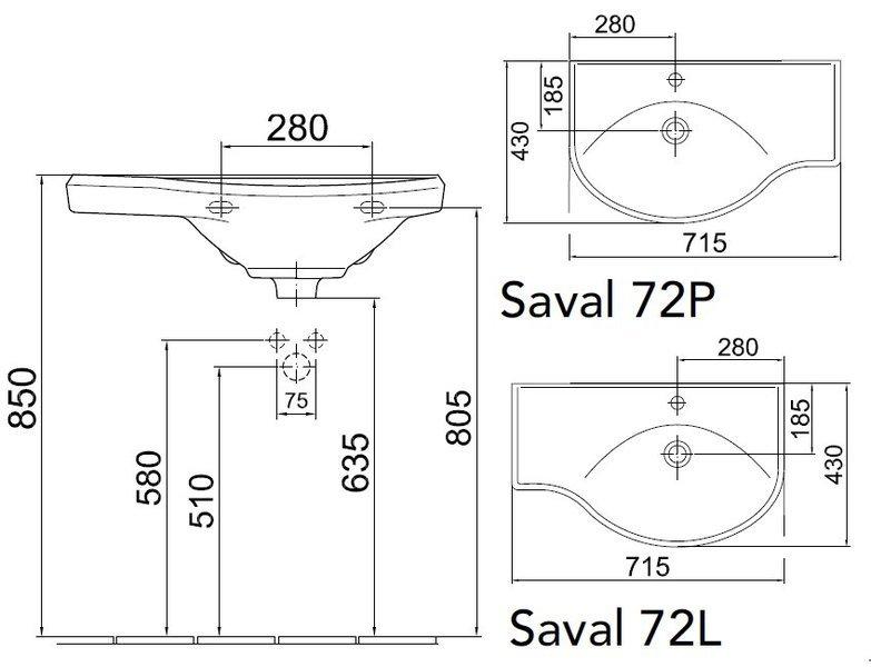 Umyvadlo rohové 72x43cm Gustavsberg SAVAL 72 L, levé 0