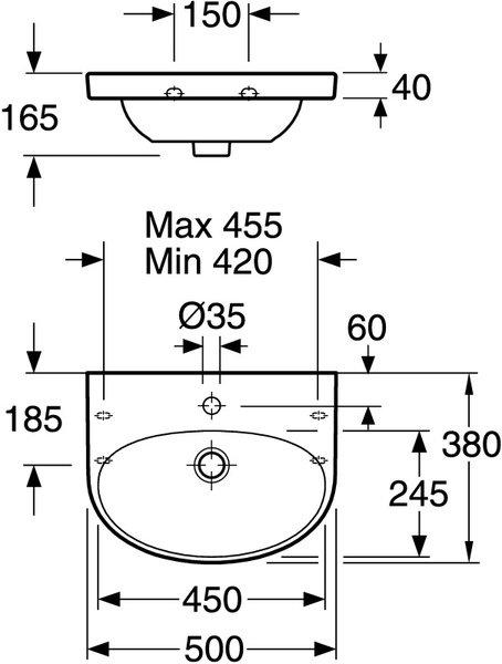 Umyvadlo 50cm Gustavsberg NAUTIC50, bílá EasyPLUS glazura 2